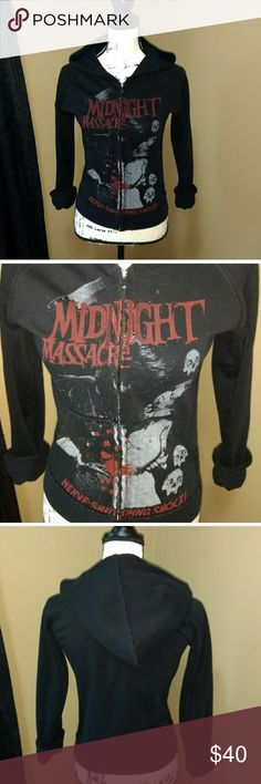 Sourpuss Midnight Massacre Hoodie 🔪🔪 Must have Sourpuss Hoodie Size medium but fits small - I'd say it would fit an xsmall- a medium but tight fitting on a medium.  Like new condition never worn sourpuss Tops Sweatshirts & Hoodies