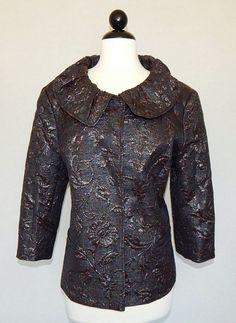 LAFAYETTE 148 NY Black Multi Color Metallic Embossed Floral Jacket Blazer - 16 #Lafayette148NewYork #BasicJacket