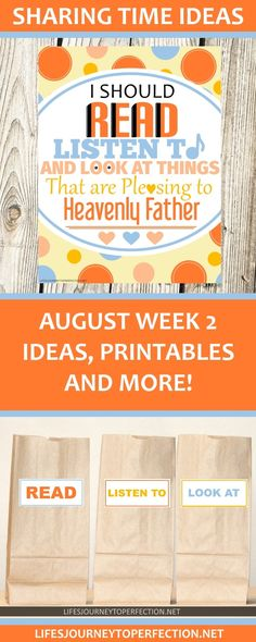 2017 LDS Sharing Time Ideas for August Week 2: I should read, listen to, and look at things that are pleasing to Heavenly Father.
