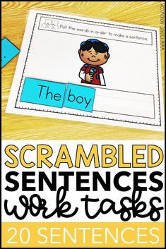 Build reading and sentence building skills with these scrambled sentences work tasks. I use them during independent work time in my Special Education classroom for my beginning readers. This task provides a stimulus picture and scrambled words to build a simple sentence containing sight words and CVC words.