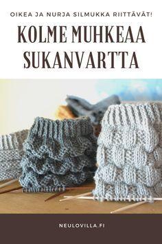 3 helppoa mallineuletta muhkeaan sukanvarteen - oikea ja nurja silmukka riittävät Knitting Stitches, Knitting Socks, Hand Knitting, Knitting Patterns, Crochet Stars, Knit Crochet, Crochet Clothes, Diy Clothes, Crochet Leg Warmers