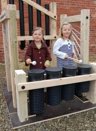 Kids Outdoor Music Station: Pipe Drums. Pipe drums make four different sounds when played energetically with beaters or hands. {inspiration}