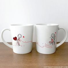 "This whimsical design illustrates the guiding power of being linked by love, and these couple mugs are perfect to show the world that ""love ties us together""! Diy Projects For Boyfriend, Diy Projects For Couples, Gifts For Your Boyfriend, Couples Coffee Mugs, Couple Mugs, Couple Gifts, Diy Gifts For Him, Valentines Day Gifts For Him, Relationship Gifts"