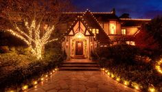 Christmas Lighting Design by Red River Lights. Decorating With Christmas Lights, Outdoor Christmas Decorations, Holiday Lights, Holiday Decor, Tudor House, Christmas Colors, Christmas Ideas, Tudor Style Homes, Red River
