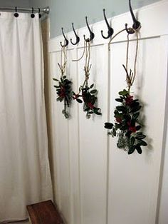 Simple Christmas decoration, tie greenery and holly with twine and hang. Cottage Christmas, Christmas Home, Christmas Wishes, Simple Christmas, Twas The Night, The Night Before Christmas, Holiday Decorations, Wooden Beads, Twine