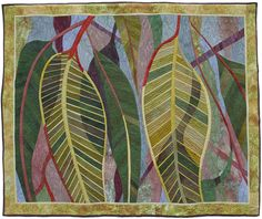 Thread Painting, Fabric Painting, Fabric Art, Landscape Art Quilts, Hanging Quilts, Illustration Blume, Decorative Leaves, Pressed Flower Art, Hand Applique