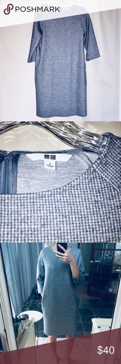 Uniqlo Wool Ponte Dress Houndstooth Gray Uniqlo Wool Ponte Dress Houndstooth Gray Size: S 60% polyester, 20% wool, 20% rayon This dress has pockets and can be worn as a maternity dress. Uniqlo Dresses Long Sleeve