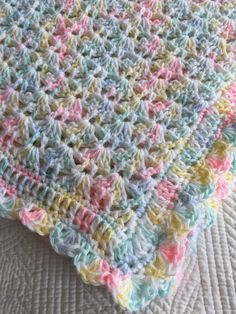 Soft and Cozy Baby Afghan in Pastels Pink by LakeviewCottageKids