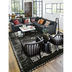 Anice Black Hand Knotted Oriental Rug | Crate and Barrel
