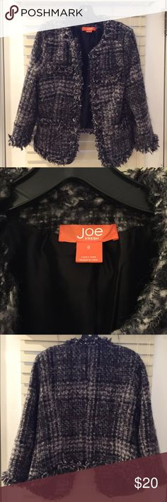 Joe Fresh Women's tweed jacket; for work or play! JOE FRESH women's size 8 tweed 3/4 sleeve jacket. Great for work to bring your boring suits to life or with jeans for a night on the town. Only worn a few times, hooks are loose and need a simple needle and thread! Joe Fresh Jackets & Coats Blazers