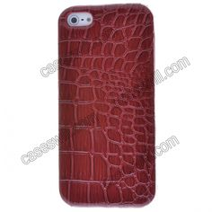Crocodile Pattern Faux Leather Coated Back Case Cover for iPhone 5 - Red US$3.99