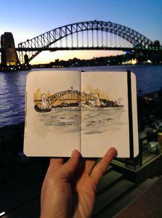 Travel Journal-Art Diary-Eclectic Design Book-Inspirational Design -Sydney's Bridge at Sunset