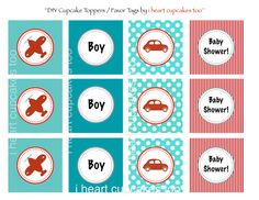 Vintage Airplane and Car Toppers PRINTABLE by iheartcupcakestoo, $5.00