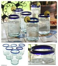 Amazon.com: Blue and Clear Drinking Glasses, 'Classic' (Set of 6): Home & Kitchen
