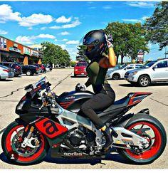 Motorcycles, bikers and more — Biker girl on Aprilia Lady Biker, Biker Girl, Motard Sexy, Chicks On Bikes, Motorbike Girl, Hot Bikes, Biker Chick, Super Bikes, Street Bikes