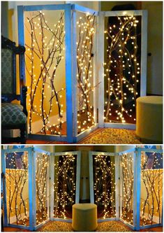 DIY Twinkling Branches Room Divider: Punch out panels in a room divider and fill with light strewn branches tangled in strings for room or garden. Wooden Room Dividers, Bamboo Room Divider, Hanging Room Dividers, Sliding Room Dividers, Diy Room Divider, Divider Walls, Divider Cabinet, Temporary Room Dividers, Divider Design
