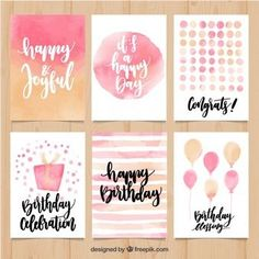 Anniversary Label Collection In Vintage Style - Lettering - Aniversario Watercolor Birthday Cards, Birthday Card Drawing, Watercolor Cards, Abstract Watercolor, Easy Watercolor, Watercolour, Creative Birthday Cards, Handmade Birthday Cards, Diy Birthday