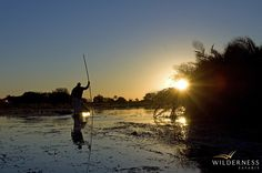 Little Vumbura  - sunset by mokoro #Safari #Africa #Botswana #WildernessSafaris