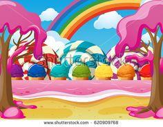 Scene with icecream and lolipops illustration