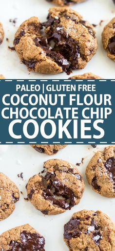 Coconut flour chocolate chip cookies are an easy chewy and healthy cookie recipe! This recipe is paleo so its naturally gluten free dairy free and refined sugar free. In just one bowl and a few minutes you can the best coconut flour cookies. Coconut Flour Cookies, Coconut Chocolate Chip Cookies, Coconut Flour Recipes, Paleo Cookies, Healthy Cookie Recipes, Keto Chocolate Chips, Baking Recipes, Paleo Baking, Free Recipes