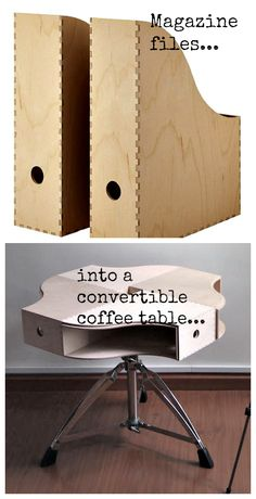 Transformable magazine file coffee table... Make your own coffee table from magazine files - more than clever - outstanding!