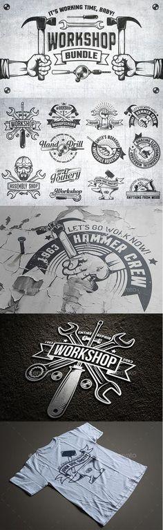 Workshop Logo Set Templates PSD, Transparent PNG, Vector EPS. Download here: http://graphicriver.net/item/workshop-logo-set/16182876?ref=ksioks