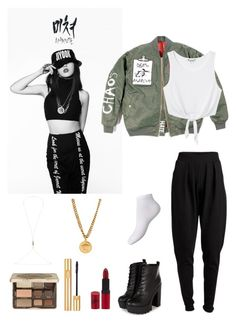4MINUTE's Jiyoon- '미쳐Crazy' Outfit by dropletsofkaisoo on Polyvore featuring polyvore, fashion, style, Monki, Pieces, Versace, Daniela Villegas, Too Faced Cosmetics, Yves Saint Laurent and Rimmel
