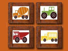 Trucks Kids Wall Art transportation Art Print by Littlestinkersart