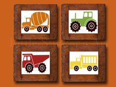 Trucks Kids Wall Art transportation Art Print by Littlestinkersart