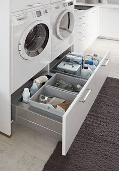 Utility room - cook consciously - europamoebel at in 2020 Modern Laundry Rooms, Laundry Room Layouts, Laundry Room Cabinets, Farmhouse Laundry Room, Laundry Room Organization, Closet Organization, Organization Ideas, Modern Room, Laundry Closet