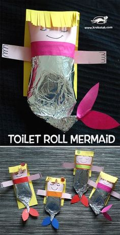 MERMAID CRAFT from Toilet Paper Rolls. Plus find children activities, more than 2000 coloring pages Craft Activities For Kids, Preschool Crafts, Projects For Kids, Diy For Kids, Crafts For Kids, Arts And Crafts, Paper Towel Crafts, Toilet Paper Roll Crafts, Mermaid Crafts