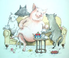 Helen Oxenbury, three little wolves and a bad pig