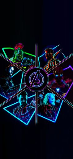 2012 Neon Avengers Full Res Phone Wallpapers!