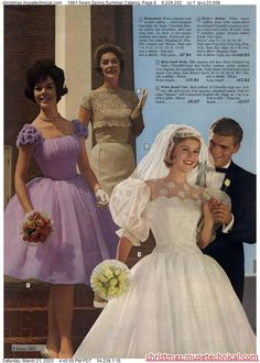 1961 Sears Spring Summer Catalog, Page 8 - Christmas Catalogs & Holiday Wishbooks Chic Vintage Brides, Vintage Wedding Photos, Vintage Bridal, Vintage Weddings, Vintage Couples, Bride Gowns, Bridal Dresses, Bridesmaid Dresses, 1960s Wedding Dresses