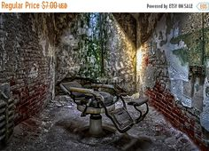CIJSALE Eastern State Penitentiary Dentist Chair in Philadelphia, PA 5x7 Lustre Print Fine Art Photography Landscape Prison Wall Art Gothic