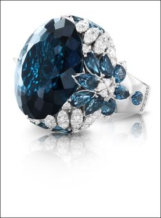 """Pasquale BRUNI ring with deep blu London Topaz and White Diamonds from the """"Ghirlanda Nefertiti""""collection dedicated to the Queen of Ancient Egypt."""