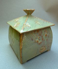 Lidded Textured Ceramic Box with Orange and Green Glazes