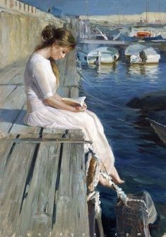 "Painter Vladimir Volegov ""At pier of Blanes"", oil on canvas, Beauty in Art"
