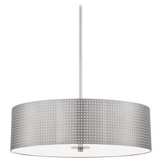 Grid� - 4 Light Pendant - 4 Light Pendant with Brushed Nickel Finish and Perforated Steel Shade Etched Glass Diffuser