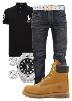 Rolex, Balmain, Timberland, MCM, men's fashion and menswear Dope Outfits For Guys, Swag Outfits Men, Stylish Mens Outfits, Tomboy Outfits, Casual Outfits, Fashion Mode, Tomboy Fashion, Work Fashion, Urban Fashion