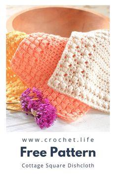 Free Dishcloth Pattern Set – Cottage Square DIY crochet dishcloth, easy to crochet pattern set by GoldenStrandStudi… / Crochet. Diy Crochet Dishcloth, Crochet Dish Towels, Crochet Yarn, Easy Crochet, Free Crochet, Crochet Mandala, Crochet Things, Crochet Afghans, Crochet Blankets
