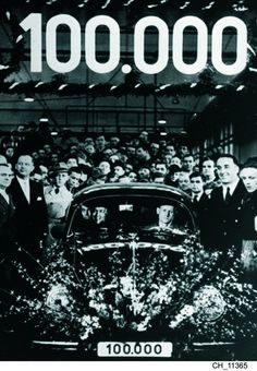 Historic Beetle | Photo from 1955 celebrating one million Volkswagen Beetles being built.