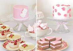 amazing table decoration with cookies, cakes, pretty rose print dishes
