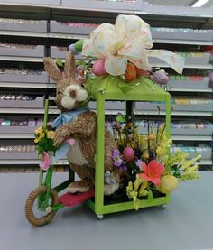 Lantern bunny from our Wilmington, DE store - Visit your local A. Moore store to find more designer floral inspiration - Easter decor - Easter bunny - bunny decor - sisal bunny - lantern decor decorating lanterns Arts and Crafts Store Easter Tree Decorations, Easter Wreaths, Diy Osterschmuck, Diy Ostern, Lanterns Decor, Easter Table, Sisal, Spring Crafts, Easter Crafts