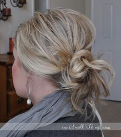 Love the messy bun.  This would be better than my clipped up hair any day.