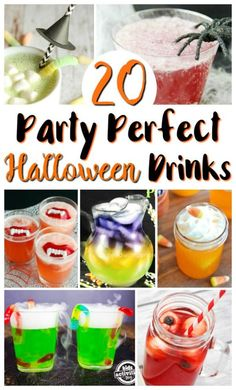 Halloween Drinks for a Halloween Party, including scary drinks, smoothies, and more. Halloween Drinks Kids, Halloween Food Crafts, Halloween Activities, Halloween Party Decor, Halloween Treats, Halloween Fun, Haunted Halloween, Halloween Desserts, Fun Drinks