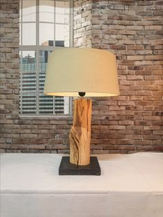Table lamp made of weathered oak, olive green shade. made by GBH NatureArt. more info in my web shop.