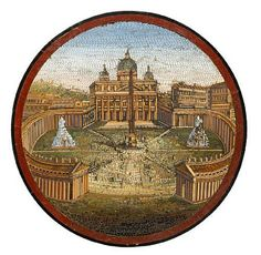 An important large Italian pietra dura and micromosaic table top depicting scenes of Rome, mid-19th century. photo Bonhams