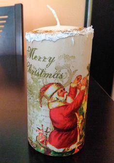 Vela decorada con papel arroz y grabados. Manualidades Rosamay. Modelo: Navidad 02