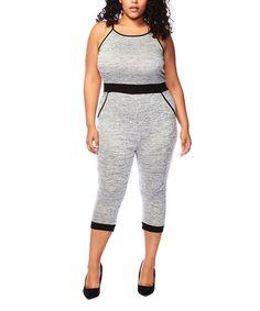 Gray Color Block Capri Jumpsuit - Plus #zulily #zulilyfinds